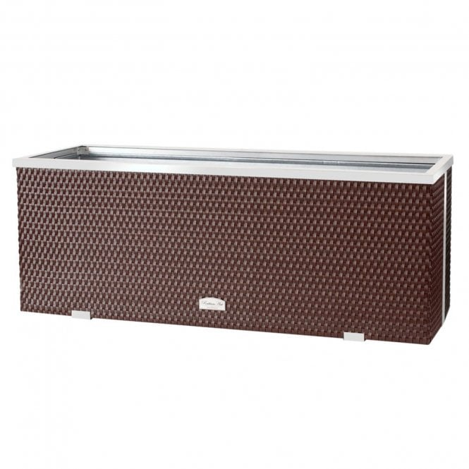 Click to view product details and reviews for Poly Rattan Trough Planter Brown 108cm.