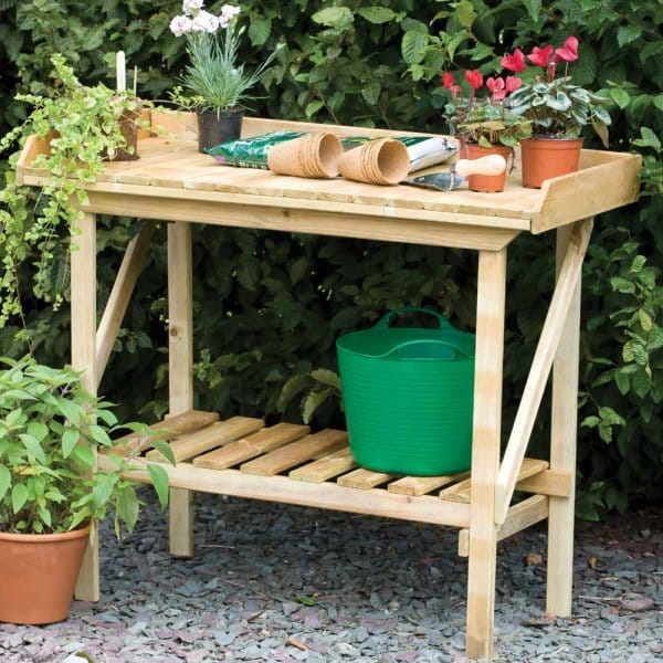 Forest Garden Potting Bench Large Working Area With Shelf