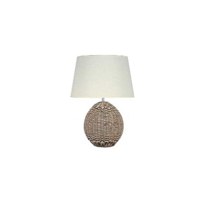 Raffles Cream Wash Rattan Ball Table Lamp Base 47cm