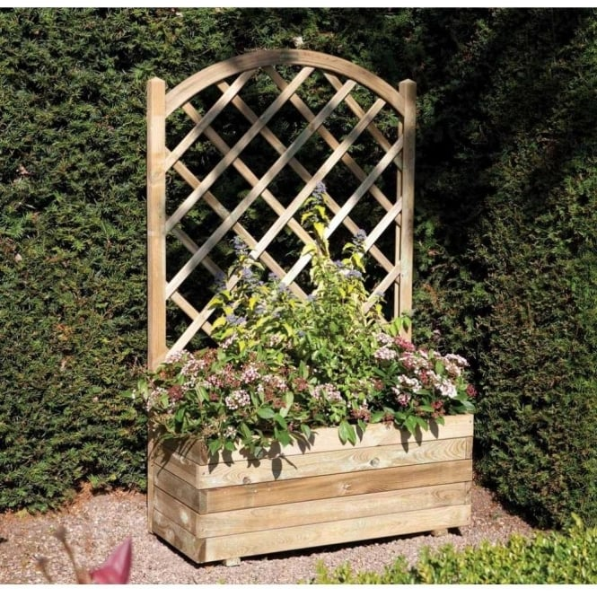 Rectangular Planter With Lattice Back Board