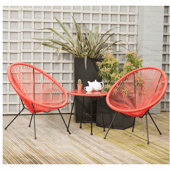 Click to view product details and reviews for Red Pu Rio 3 Piece Bistro Set.