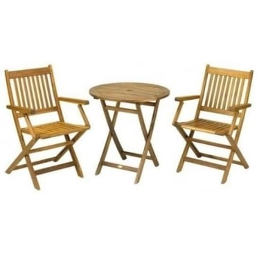 Round 70cm Table with 2 Manhattan Folding Armchairs