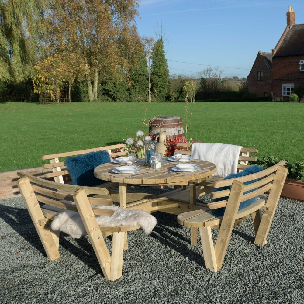 Grange Round Table With Backrest - Picnic table with backrest