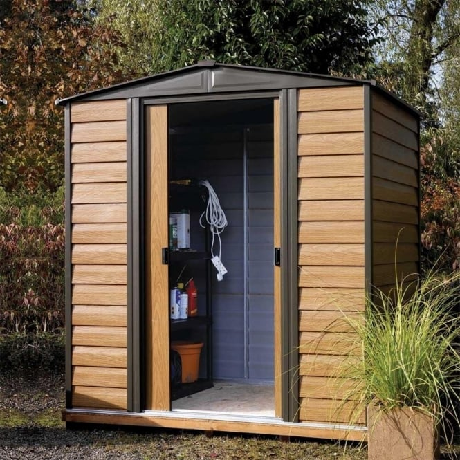 Click to view product details and reviews for Rowlinson Woodvale Metal Apex Shed 6 X 5.