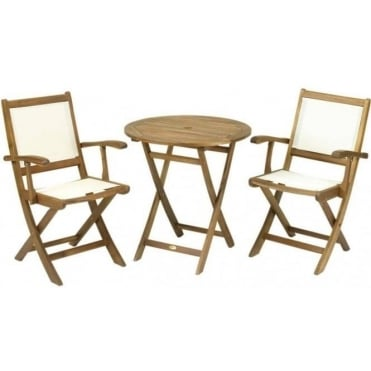 Royalcraft 70cm Round Bistro Set with 2 Henley Armchairs