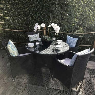Royalcraft Cannes Black 4 Seater Round Dining Set