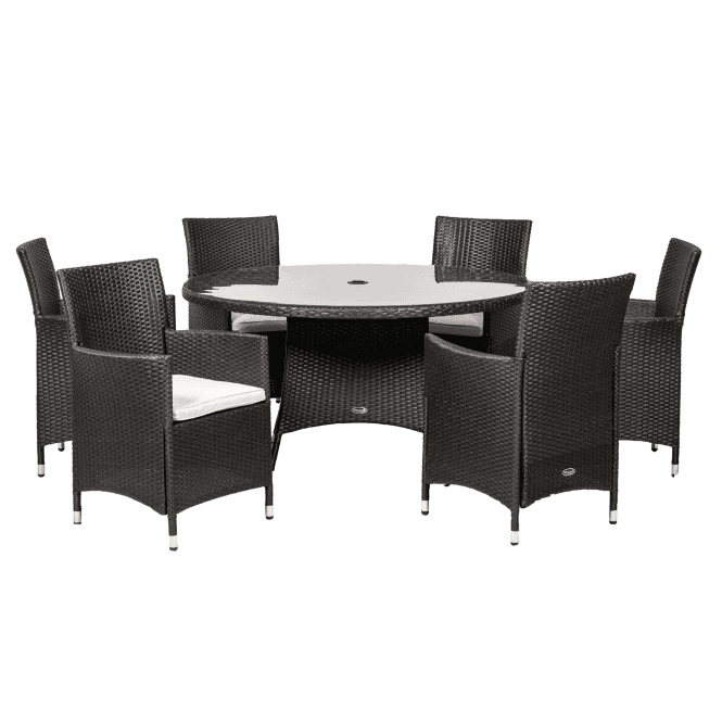 Click to view product details and reviews for Royalcraft Cannes Black 6 Seater Round Dining Set.