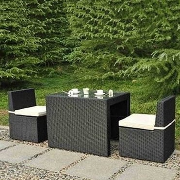 Royalcraft Cannes Ebony Black 3 Piece Cube Breakfast Set