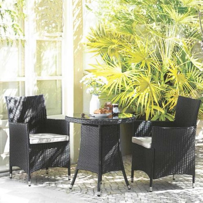 Royalcraft Cannes Ebony Black Fixed Bistro Set