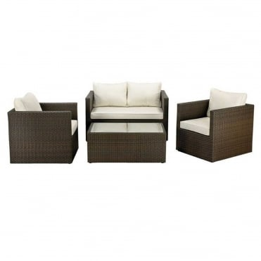 Royalcraft Cannes Mocha Brown 4 Piece Fixed Sofa Set