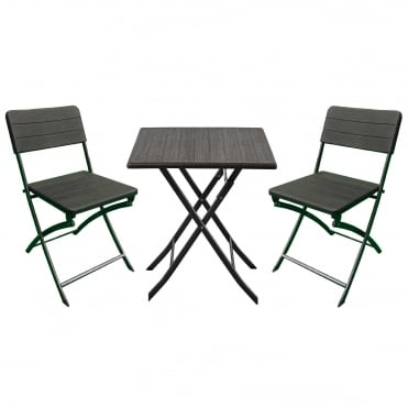 Royalcraft Carini Wood Effect Table and Folding Chairs