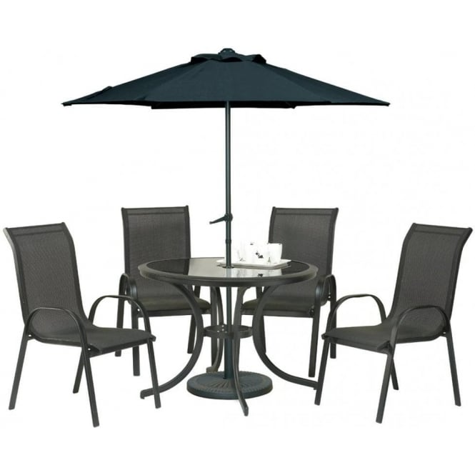 Click to view product details and reviews for Royalcraft Cayman 4 Person Round Dining Set With Parasol.