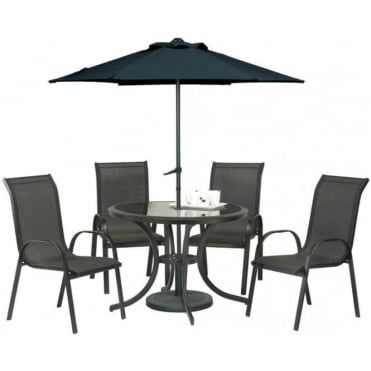 Royalcraft Cayman 4 Person Round Dining Set with Parasol