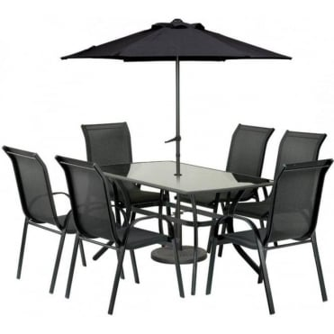 Royalcraft Cayman 6 Person Rectangular Dining Set with Parasol