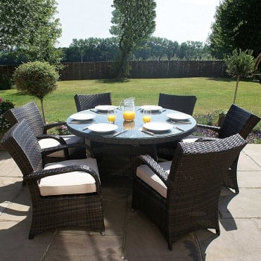 Royalcraft Dallas Brown 6 Seater Round Dining Set