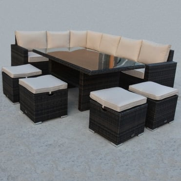 Royalcraft Dallas Brown 7 Piece Standard Corner Dining Set