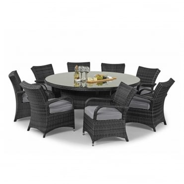Royalcraft Dallas Grey 8 Seater Round Dining Set