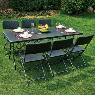 Royalcraft Palermo Rectangular Folding Table and 6 Chairs