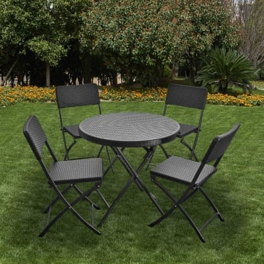 Royalcraft Palermo Round Folding Table and 4 Chairs