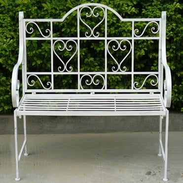 Royalcraft Romance Antique White Hearts 2 Seater Bench