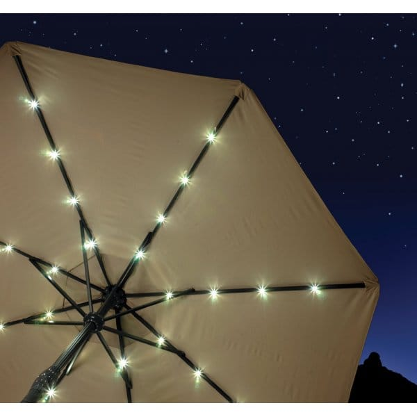 Solar Powered Remote Controlled Parasol with LED Lights