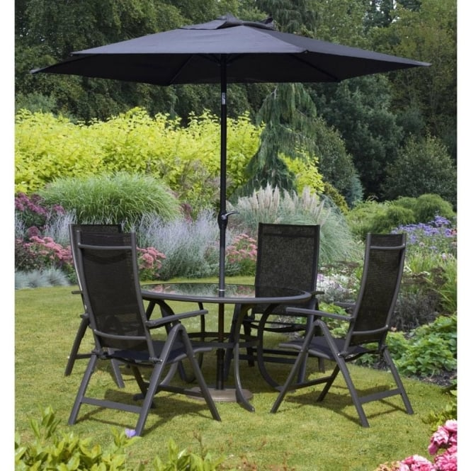 Click to view product details and reviews for Royalcraft Sorrento 4 Person Round Dining Set With Parasol 2 Colour Options.