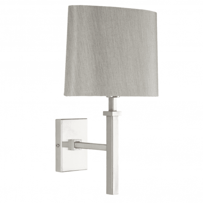 Click to view product details and reviews for Satin Nickel Stick Wall Light And Grey Oval Shade.