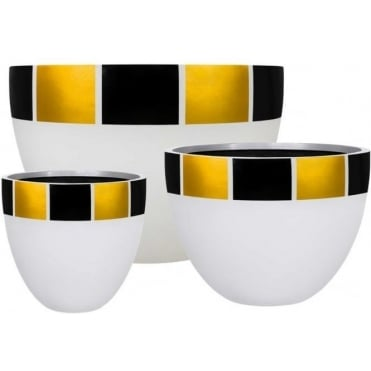 Satu Bumi Glass Fibre Watson Egg Planter in White with Gold and Black