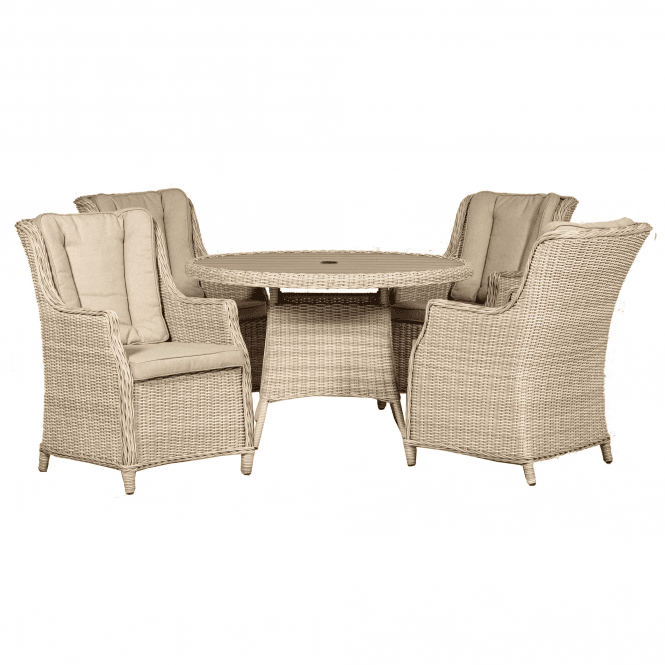 Click to view product details and reviews for Seychelles 4 Seater Round High Back Comfort Dining Set.