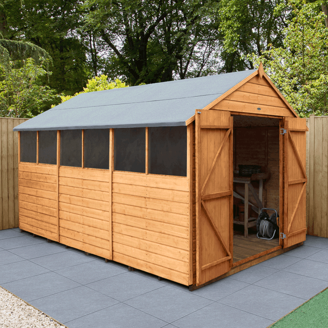 Click to view product details and reviews for Shiplap Dip Treated 12x10 Apex Shed Double Door.