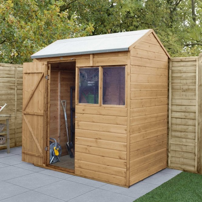 Click to view product details and reviews for Shiplap Dip Treated 6x4 Reverse Apex Shed.
