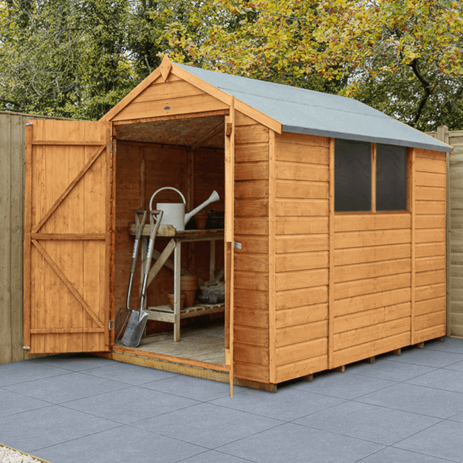 Shiplap Dip Treated 8x6 Apex Shed Double Door