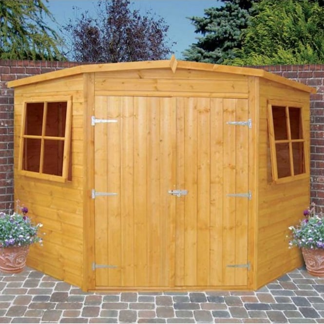 Corner Shed Double Doors|Low Roof