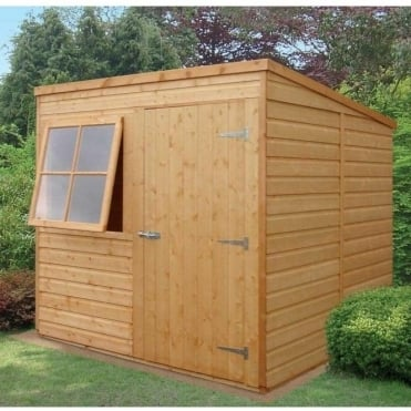 Pent 7x7 Shed Shiplap Single Door|1 opening window