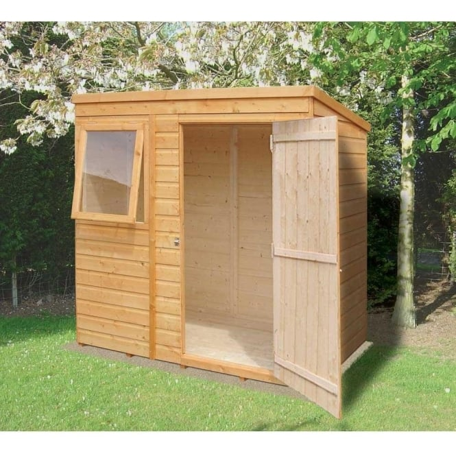 shiplap pent garden shed 6ft x 4ft overlap with single door - Garden Sheds 6ft By 4ft