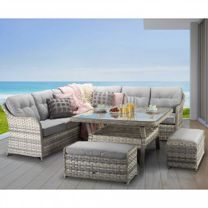 Click to view product details and reviews for Signature Weave Constance Large Corner Sofa With 2 Extra Bench Seats And Square Dining Table – Silver Grey.