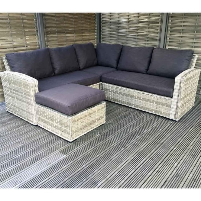 Grace Corner Rattan Sofa with Footstool in Grey