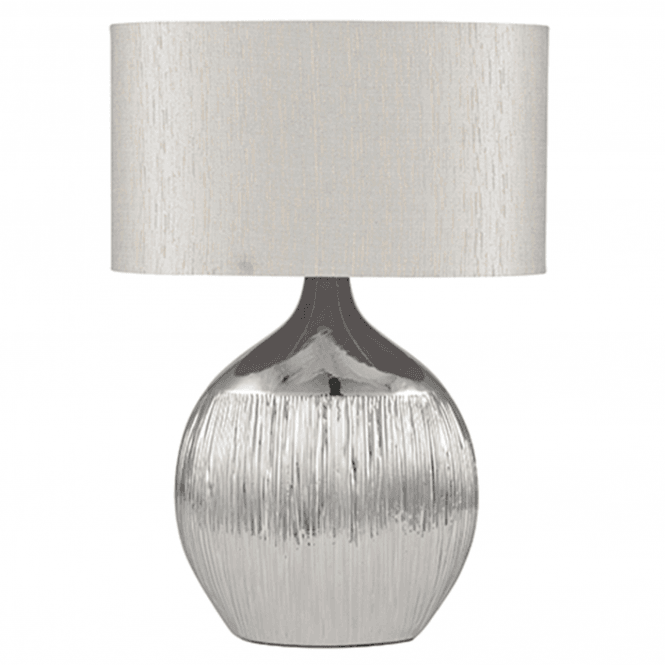 Silver Scratched Ceramic Table Lamp