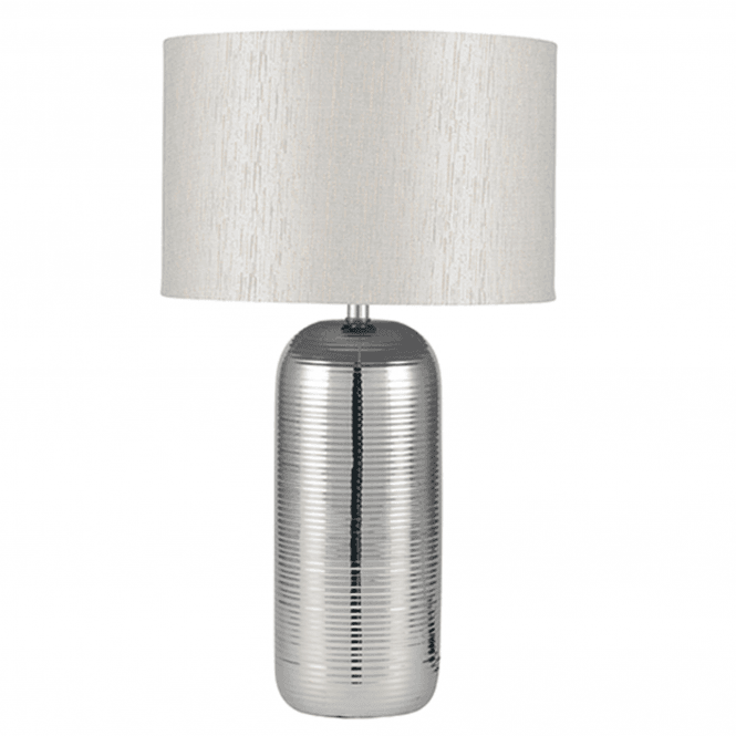 Click to view product details and reviews for Silver Stripy Ceramic Table Lamp And Shade.