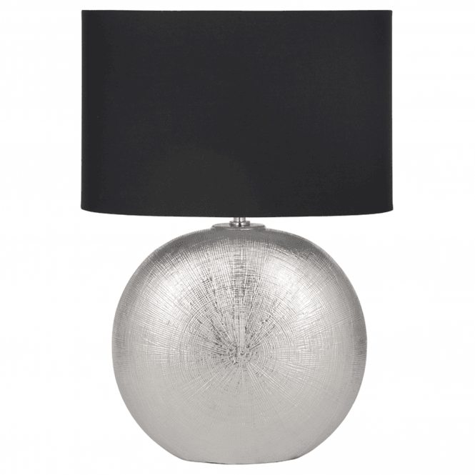 Click to view product details and reviews for Silver Textured Ceramic Table Lamp With Oval Shade.