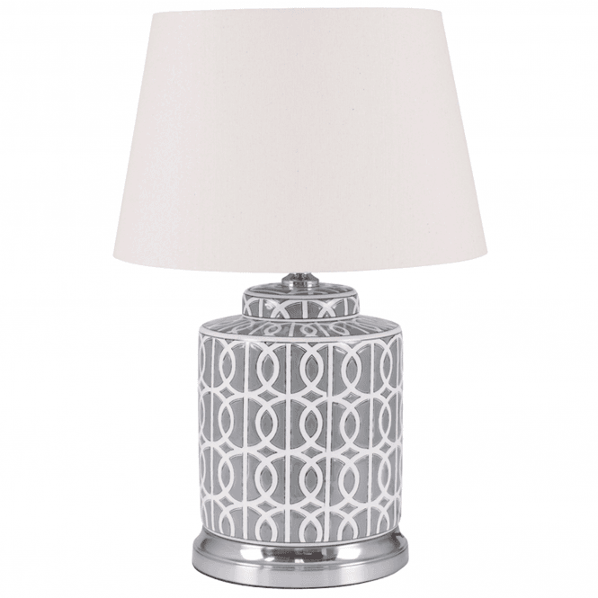 Click to view product details and reviews for Small Grey And White Pattern Table Lamp.