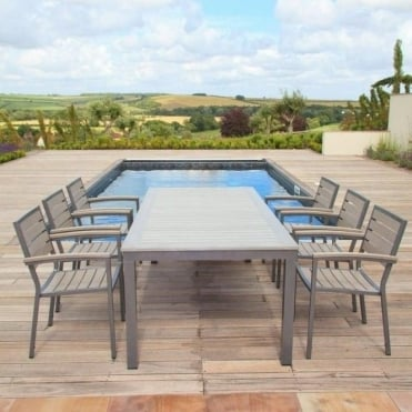 Sol Bistro Syn-Teak 6 Seater Dining Set with Large Rectangle Table