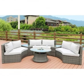 Soliel 6 Seater Grey Curved Sofa Set with Ice Bucket