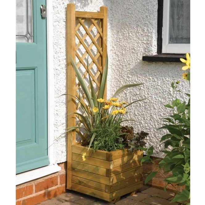 Click to view product details and reviews for Square Planter With Lattice Back Board.