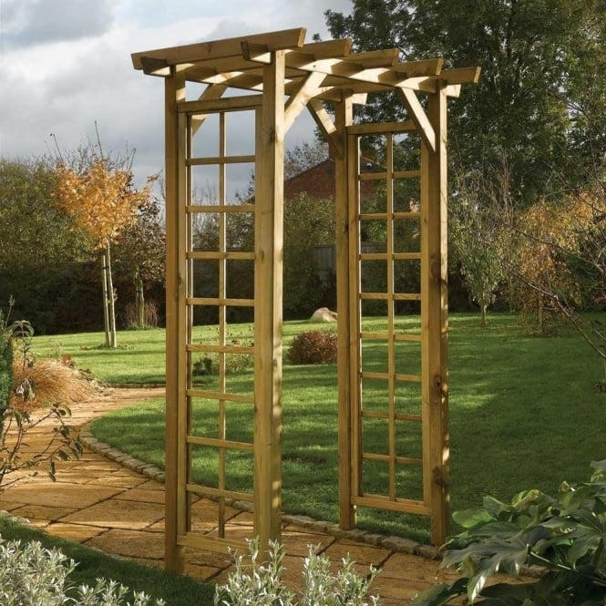 Square Top Arch FSC Approved Timber Open Trellis Sides
