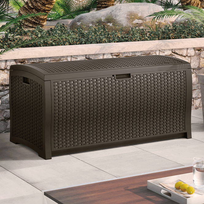 Click to view product details and reviews for Suncast Resin Wicker Effect Deck Box Medium.
