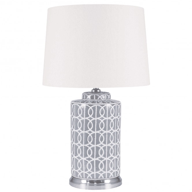Tall Grey And White Geo Pattern Table Lamp