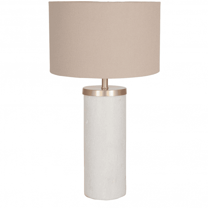 Click to view product details and reviews for Tall Marble Table Lamp With Taupe Handloom Shade.