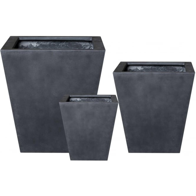 The Pot Co Stonefibre Flared Square Planter 3 Sizes Available In Black