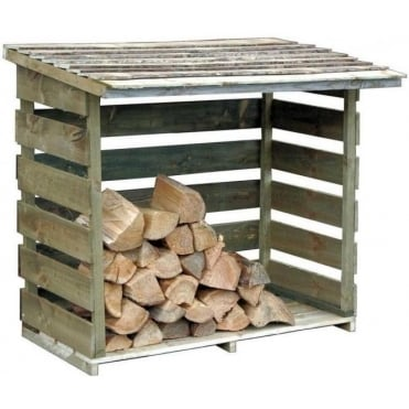 Timber Slatted Panel Log Store